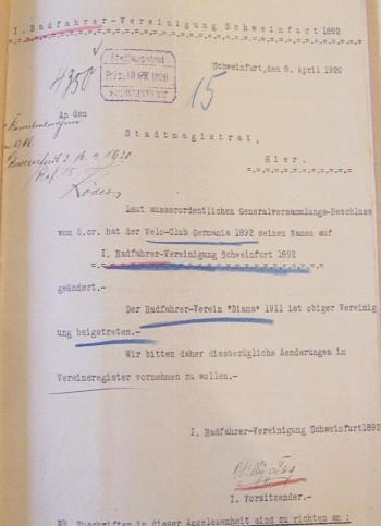 Schreiben an den Stadtmagistrat Schweinfurt vom 8. April 1920