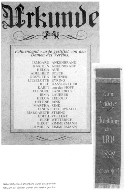 Fahnenband gestiftet anläßlich der 100 Jahrfeier von den Damen des Vereins.