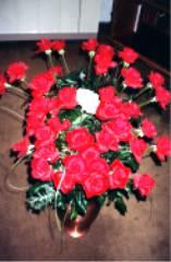 40 rote Rosen und 1 weiße Rose